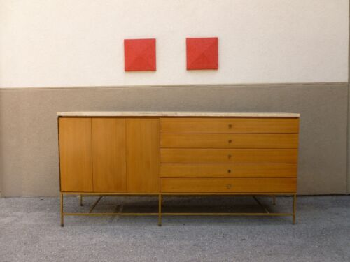 CALVIN PAUL MCCOBB  TRAVERTINE MARBLE TOP SIDEBOARD / CREDENZA WITH BRASS LEGS P
