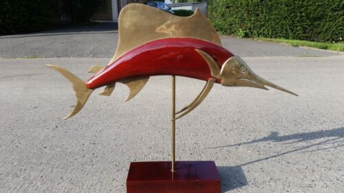 FREDERICK COOPER ? MID CENTURY BRASS WOOD FISH SCULPTURE SAILFISH LARGE REGENCY