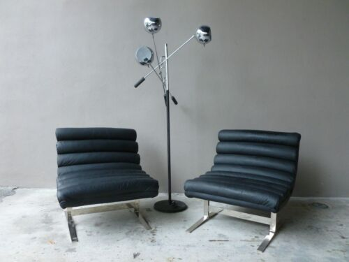 70'S ADRIAN PEARSALL CRAFT ASSOCIATES BLACK LEATHER & CHROME LOUNGE CHAIRS