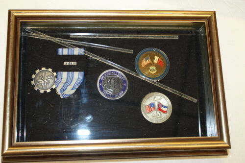 Lot of 4 Mississippi Military National Guard Medals / Coins in Shadow BoxNational Guard - 66532