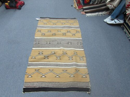 "Antique Native American Indian Navajo Weaving Wool Blanket Rug Size 32"" x 58"""