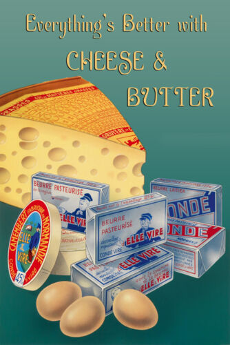 Camenbert Cheese Butter Food Kitchen Art Vintage Poster Repro FREE S/H in USA