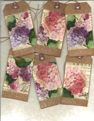 12 PRIMITIVE TAGS ~Hydrangea Love! ~HANG TAGS~folk~Grungy~in White
