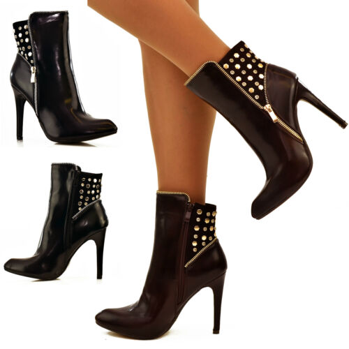 Ladies Faux Leather Ankle Boots Studded High heel Booties Gold zips SERGIO TODZI