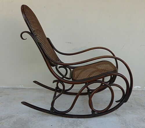 AUTHENTIC ORIGINAL COND SIGNED THONET BENTWOOD ROCKER DESIRABLE FORM  CIRCA 1896