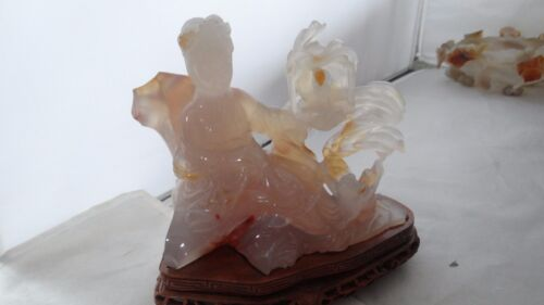 Amazing  Antique Vintage Chinese Carved Agate Maiden With Dog And Bird Statue