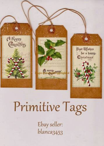 12~CHRISTMAS Tags PRIMITIVE GRUNGY Gold & Red Christmas