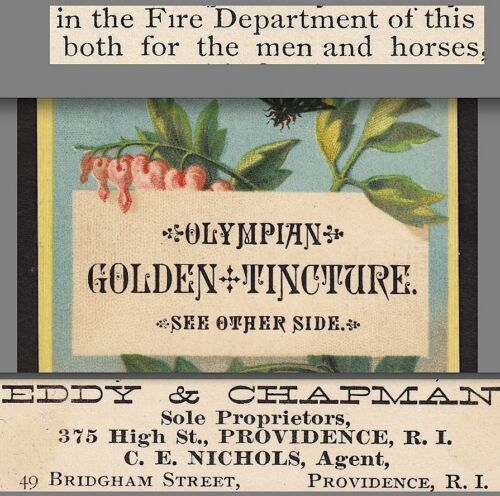 Golden Tincture Toothache Man or Beast Cure 1880's Providence Advertising Card