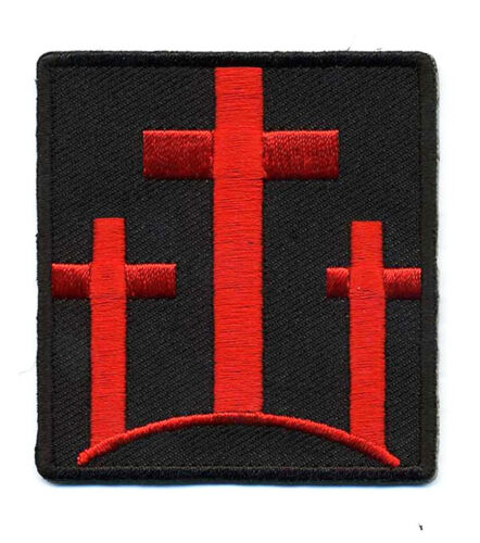 THREE CROSSES Christian Embroidered  RED CROSSES MORALE HOOK LOOP PATCHArmy - 48824