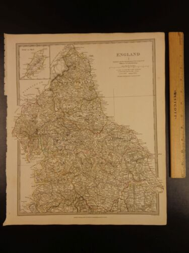 1844 BEAUTIFUL Huge Color MAP of Northern England Yorkshire Great Britain ATLAS