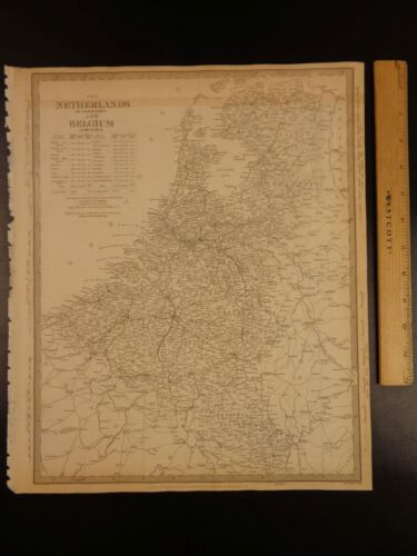 1844 BEAUTIFUL Huge Color MAP of Netherlands and Belgium Dutch ATLAS