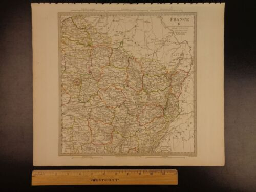 1844 BEAUTIFUL Huge Color MAP of North East France Paris Rhine River ATLAS