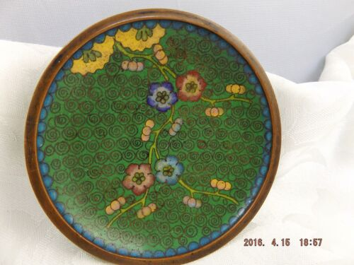 Antique Asian Chinese Enamel on Brass Small Dish