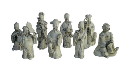 Chinese Off White Vintage Finish Porcelain Eight Immortal Set M102