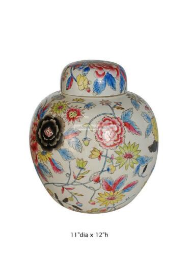 Chinese Hand Painted Colorful Peony Flowers Motif  Porcelain Jar f772