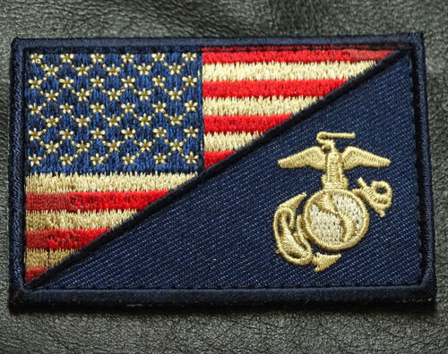 Usa Flag Marine Corps Usmc Subdued Drk Navy Hook Patch [m8]