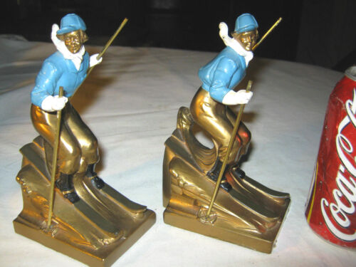 ANTIQUE K&O USA LADY WOMAN SNOW SKI SKIER ART STATUE SCULPTURE BOOK BOOKENDS CO