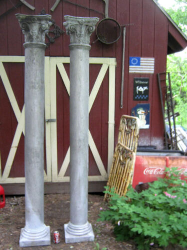2 ANTIQUE ARCHITECTURAL GARDEN ALUMINUM COLUMN POST ART PILLAR PORCH STREET LAMP