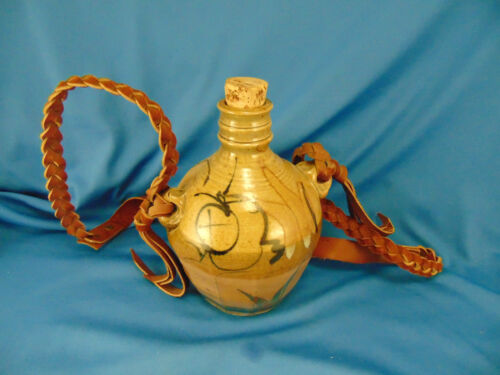 Wine jug hand crafted pottery glazed inside & out leather strap attached signed