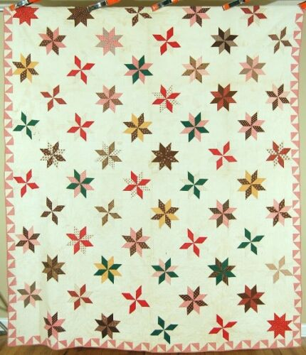 1850s Vintage Stars Antique Quilt ~GORGEOUS EARLY FABRICS & BROKEN DISHES BORDER