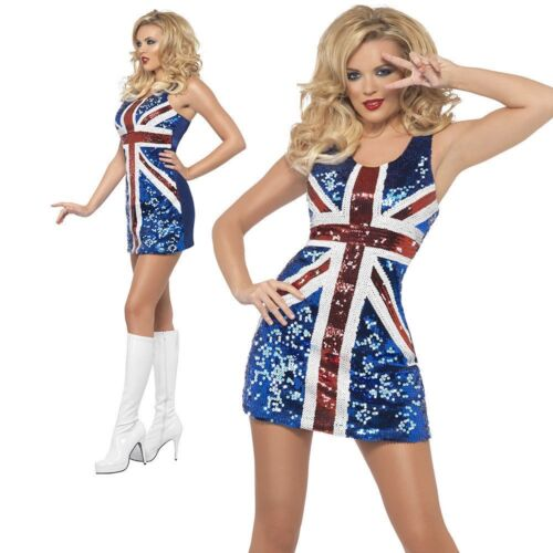 Spice Girls Sequin Dress Union Jack Fancy Dress Costume Sizes 8-18