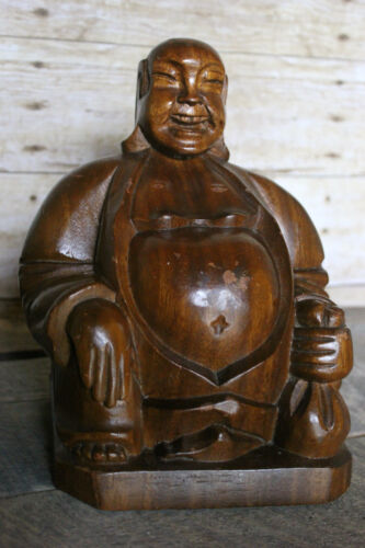 Old Vintage Solid Wood Hand Carved Chineses Buddha Statue Wooden Figure Buddah