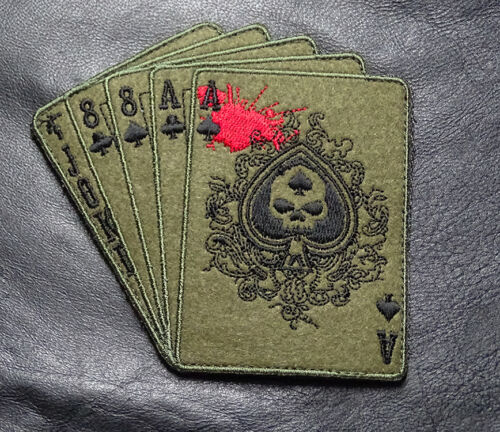 DEAD MAN'S HAND ACES SKULL ODA FOREST TACTICAL COMBAT MORALE ARMY HOOK PATCHArmy - 48824