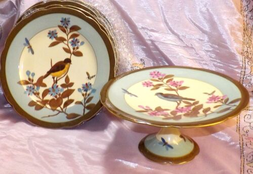 FINE 19TH CENTURY BIRD & BUG SERIES GERMAN SHOW PLATES W/ COMPOTE ~HIGH QUALITY~