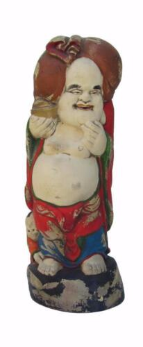 Hand Carved Camphor Wood Standing Happy Buddha Statue JZ120