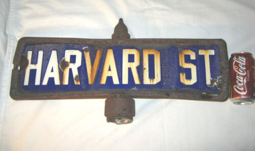ANTIQUE ARCHITECTURAL HARVARD SCHOOL PORCELAIN STREET ART SIGN CAST IRON BRACKET