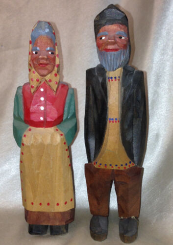 """THORNGREEN A/S WOOD CARVED MAN & WOMAN PRIMITIVE TRADITIONAL DRESS 6.75"""" DENMARK"""