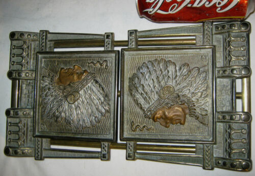 ANTIQUE AMERICAN US WESTERN INDIAN CAST IRON BOOKENDS BOOK RACK STATUE SCULPTURE
