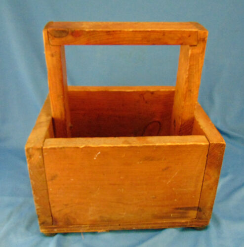Hand crafted  wooden box basket handle shoe shine arts craft carrier toys plants