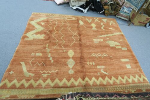 Vintage Swedish Pile Rug Hand Knotted Wool Modern Abstract 6' x 6'8 Scandinavian