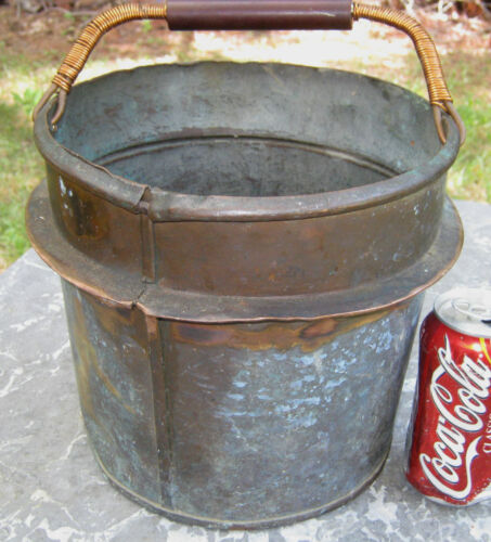 ANTIQUE COUNTRY FARM PRIMITIVE COPPER STOVE HEARTH POT PAIL PAN FLOWER PLANTER