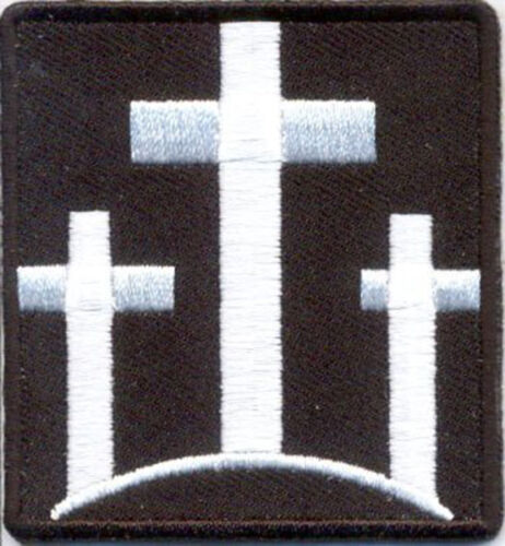 THREE CROSSES Christian Embroidered WHITE CROSSES MORALE HOOK LOOP PATCHArmy - 48824