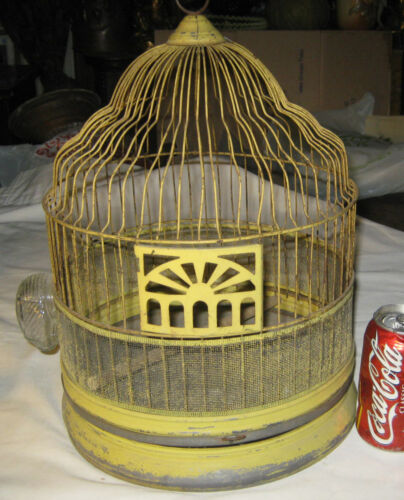 ANTIQUE HOME GARDEN FLOWER PLANT DOME WIRE BIRD CAGE GLASS ART DECO FEEDER USA