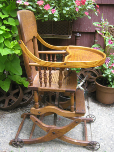 ANTIQUE PRIMITIVE USA WICKER BABY HIGH CHAIR ROCKER STROLLER CAST IRON TOY WHEEL