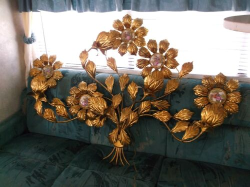 Huge Italian Florentine Flowers and courting couples wall lamp