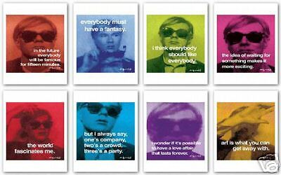 POP ART PRINT SET OF 8 - Famous Quotes by Andy Warhol 11x14 Posters