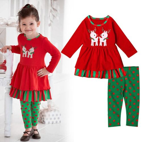 Toddler Kids Baby Girls Xmas Outfits Clothes T-shirt Tops Dress+Pants 2PCS Sets
