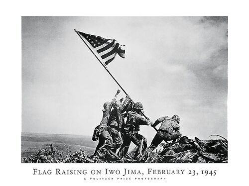 WWII WAR ART PRINT - FLAG RAISING on IWO JIMA 1945 by Joe Rosenthal 32x24 Poster