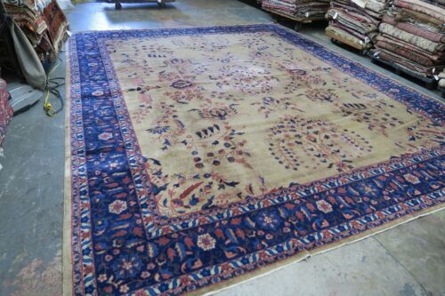 Antique Indo Tabriz Larestan Rug Hand Knotted Wool 12'9 x 14'9 Collector piece !