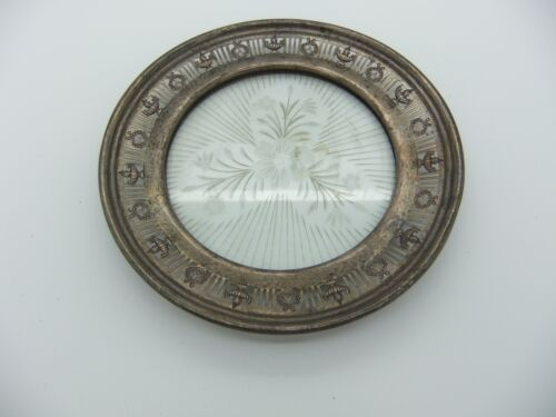 Vintage Sterling Silver Dish With Etched Crystal Insert