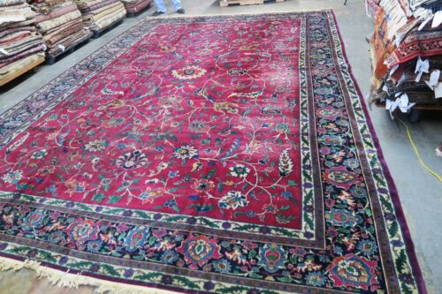 Antique Distressed Indo Tabriz Larestan Rug Hand Knotted Wool 11'0 x 15'9
