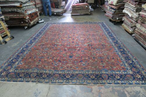 Antique India Larestan Area Oriental Rug Hand Knotted Wool 10' x 13' Allover
