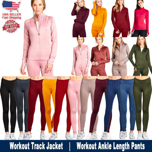 Women Active Zip Up Sports Yoga Workout Long Sleeve Top Jacket Ankle Length Pant