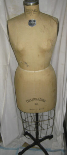 ANTIQUE BAUMAN NY RETAIL GAY FASHION CLOTHING CAST IRON DRESS FORM MANNEQUIN USA