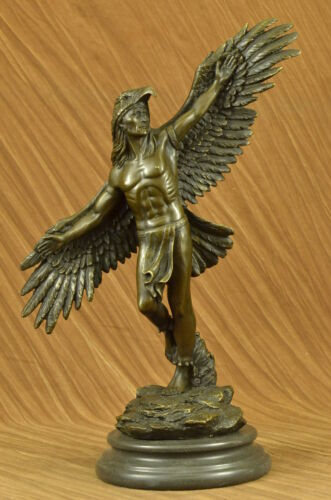Rare Indian Native American Art Chief Eagle Bust Bronze Marble Base Sculpture