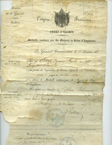 FRANCE -Diplome  British Crimea medal to 39th Regt of Line, & wound certificate Original Period Items - 4070